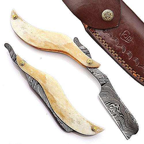 Hand Made Damascus Steel Straight Razor Folding Razor With Shaving Ready Classic Barber Blade Edge, Men Straight Razor, Leather Case + Strop, Close Shave, Great Gift R-82