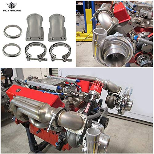 """PQY 1 Pair 3.0"""" Vband 90 Degree Cast Turbo Elbow Adapter Flange 304 Stainless Steel + Clamp for T3 T4 Turbocharger"""