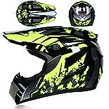 JWL Kinder DOT-Zertifizierung Crosshelm Endurohelm Motorradhelm Roller BMX Quad Helm Kinderhelm, Kinder Motocross MX Helm (Handschuhe, Schutzbrille, Maske, 4 Stück) (Fluoreszierendes Gelb,M)