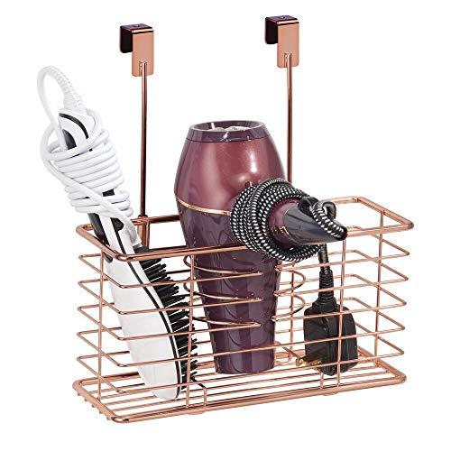 mDesign porte sèche-cheveux sans perçage – panier pour sèche-cheveux en métal grillagé s'accrochant sur une porte – module de rangement multifonction pour fer à boucler et lisseur – couleur or rouge
