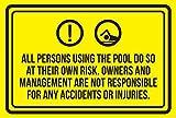 Segnale da parete responsabilità tutte le persone che usano la piscina fare così a loro rischio. Spa, segnale di avvertimento in metallo, 30 x 20 cm, decorazione per hotel