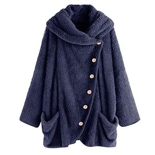 WUDUHUI Fashion Ladies Autumn New Ladies Plush Big Lapel bat Sleeve Cardigan Jacket Coat Long Sleeves Loose Navy Blue