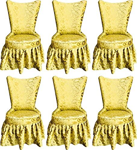 Casa Padrino Pompöös by Sillas de Comedor de Castillo Barroco de Lujo Oro Patrón de Ramo/Oro - Sillas Barroco de Pompöös Diseñadas por Harald Glööckler - 6 Sillas de Comedor