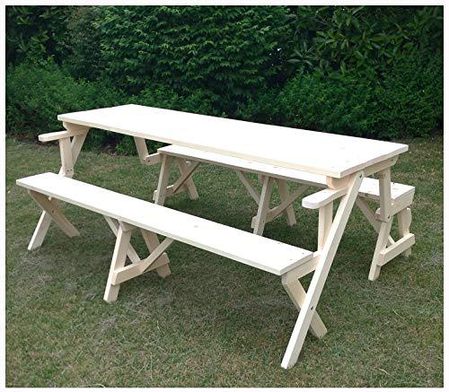 Mesa de picnic con bancos de madera de jardín convertible en un banco individual 70 x 132 x 76h