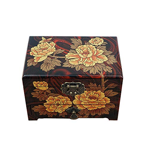 YDJGY Retro Jewelry box, wooden, Chinese storage box, dressing box, jewelry box, lacquer jewellery box, gift giving, gold peony