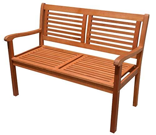 Dynamic24 Eukalyptus Holz Bank 2-Sitzer Holzbank massiv Gartenbank Parkbank Sitzbank