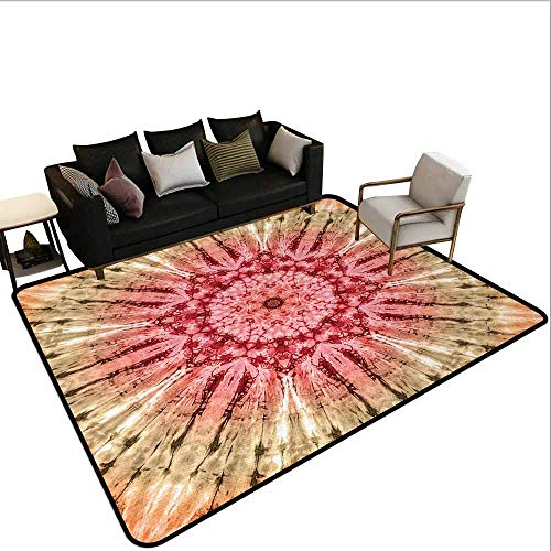 MsShe Vierkant tapijt Batik, Gradient Circle Batik Patroon met Spectrale Plooien en Distressed Spots Beeldafdruk, Rood Bruin