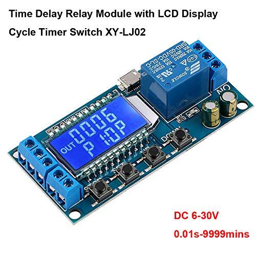 Innovateking-EU Zeitrelais 12V, USB Relais Modul Zeitverzögerungsrelais für 6-30V Verzögerungszyklus Zeitsteuerungs Schalter mit LCD Display Unterstützt Micro USB 5V Netzteil