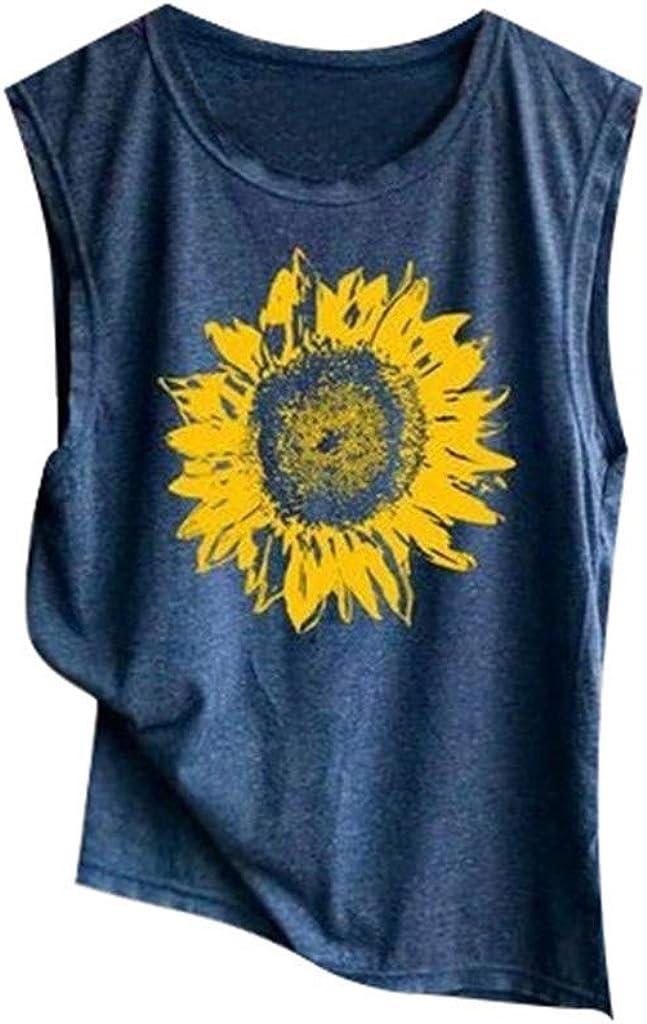 iQKA Women Fashion Sunflower Print Sleeveless Shirt Casual Loose Tank Top Summer Soft O-Neck Camis Vest