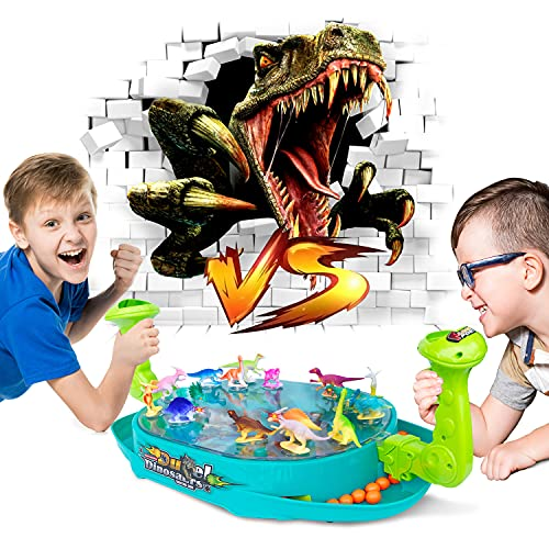 Dinosaur Shooting Toys for Kids, 2-Player Battle Creative Dino Board Game for Family Party Night, Adults and Kids Funny Bounce Game, Perfect Dinosaur Gifts for Kids, Boys & Girls
