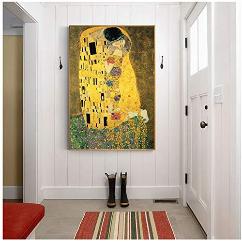 A&D Gustav Klimt Kuss Berühmte Leinwand Gemälde Reproduktionen An Der Wand Klassische Porträt Wand Poster Für Wohnzimmer Decor-50x70 cm Kein Rahmen