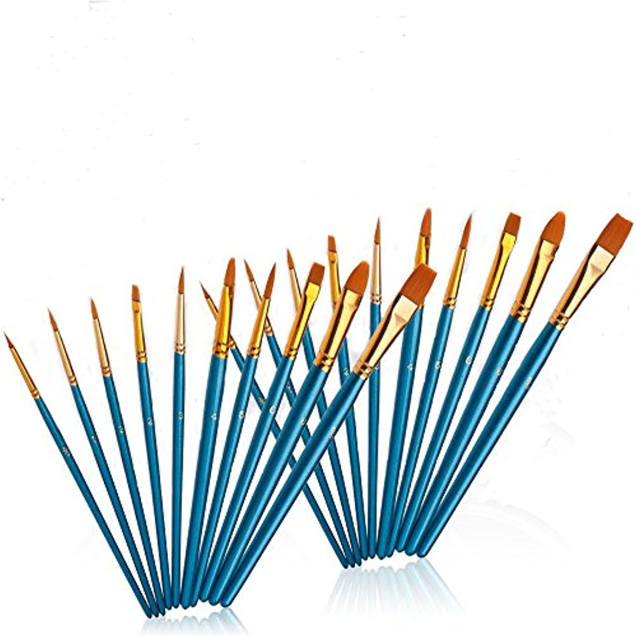 YXQSED-20 Pieces Blue Paint Brush Set Quality Artist Paint Brushes Artist Brushes for Acrylic Oil Watercolor Gouache Face Painting and Plein Air Painting Students