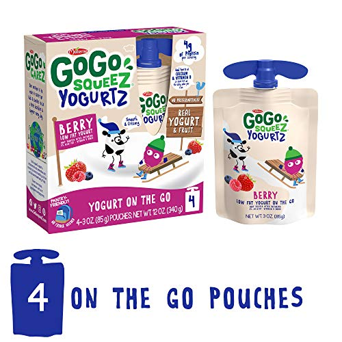 GoGo squeeZ YogurtZ, Berry, 3 Ounce (4 Pouches), Low Fat Yogurt,...