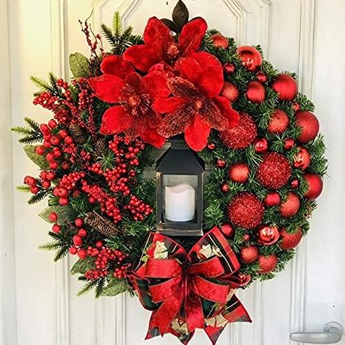 Guirlande de Noël 38CM Guirlande de Sapin Décoration Noël Guirlande Guirlande Sapin Noel Artificiel pour Chambre Porte Mur Fenêtre Escalier Cheminée