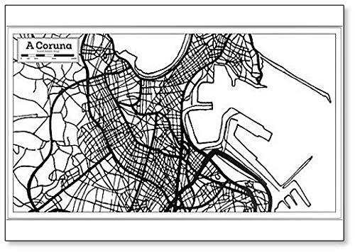 Imán para nevera con diseño de mapa de la ciudad de Coruna, España