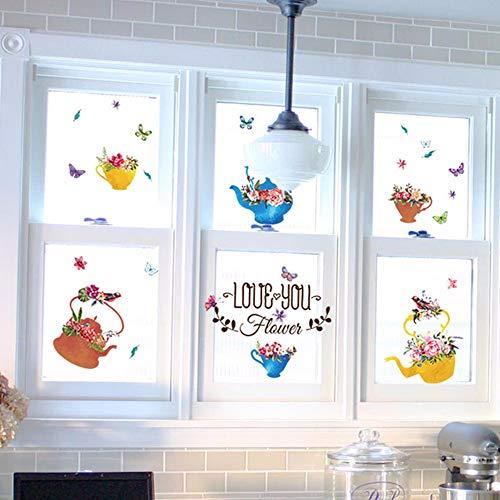 Runinstickers muurstickers voor bloempotten, handbeschilderd, in bloempotten, muursticker, voor kinderkamer, slaapkamer, badkamer, keuken, raamdecoratie