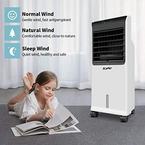 Mobile Klimagerät, IcyAir Luftkühler mit Ventilator Klimaanlage mit Fernbedienung 110 W Turmventilator Leise Luftbefeuchtung Klima Anlage Timer 3 Stufen Aircooler inkl. 2 x Kühlakku Für Haus Büro
