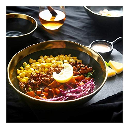 MZXUN Creative Retro Phnom Matte Black Ceramics Tableware Finish Soup Bowl Vegetables Bowl Fruit Salad Bowl