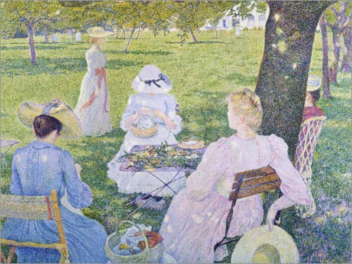 Posterlounge Wood print 40 x 30 cm: Family in the orchard by Theo van Rysselberghe/ARTOTHEK