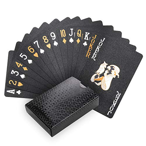 Joyoldelf Cool Black Playing Cards, Waterproof Black-Gold Foil Poker Cards with Gift Box, Great for Magic,Water Card Games and Party
