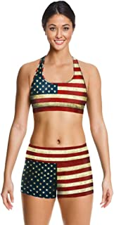 Newest Retro USA Flag 3D Digital Printing Two Piece Yoga Sports Set