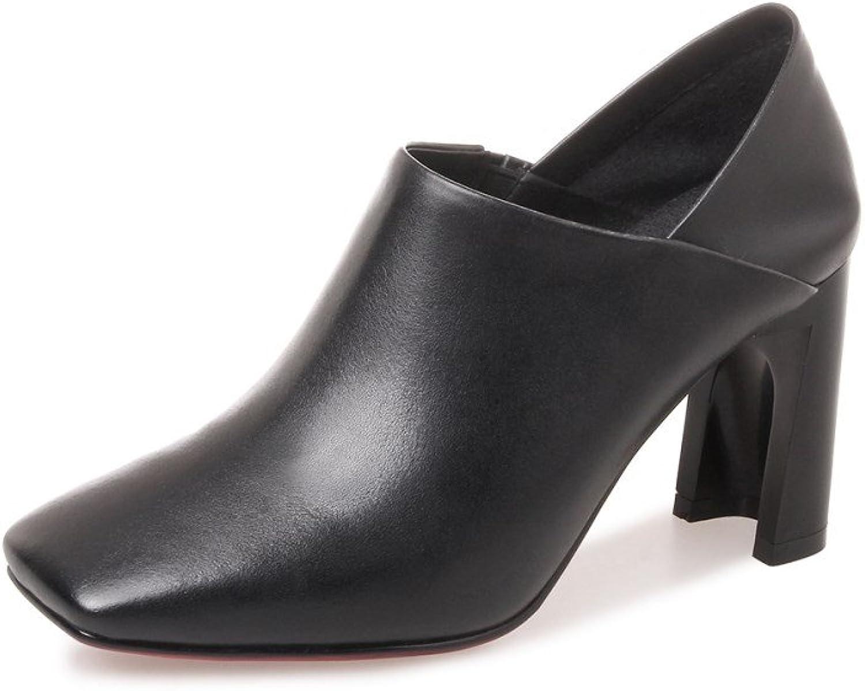 Nine Seven Genuine Leather Women's Square Toe High Chunky Heel Slip On Handmade Comfort Pump shoes