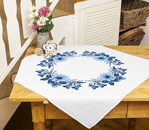 Kamaca - Kit de punto de cruz para mantel, juego de punto de algodón, juego de bordado completo con plantilla, en diseño de guirnalda flores (mantel de 80 x 80 cm)