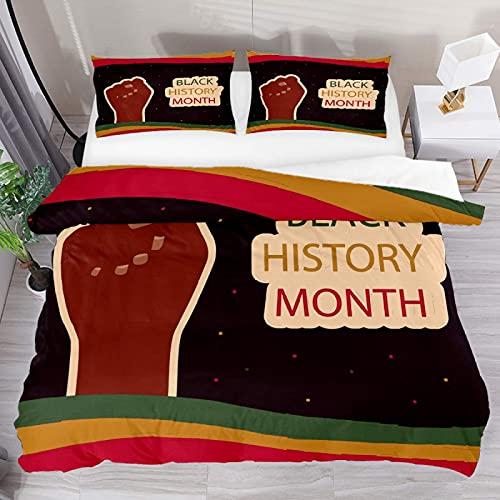 ATZTD Juego de ropa de cama transpirable Dibujado a mano, color negro, 3 piezas, funda de edredón (1 funda de edredón + 2 fundas de almohada) decoración de la habitación microfibra ultra suave