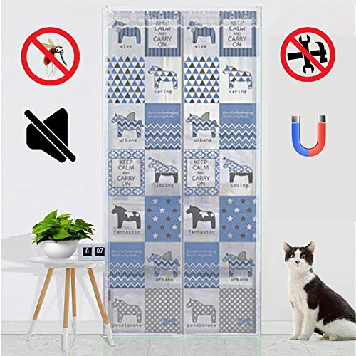 ROYWY Magnetic Fly Screen Door,Anti-Mosquito Curtain,Super Quiet Stripes Encryption,Keep Bug Out Let Fresh Air in for Balcony Sliding Living Room Children's Room/B / 85x200cm