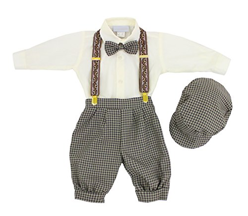 Luca Gabriel Vintage Baby Boys Toddlers Beige/Ivory Houndstooth Knicker Sling Set - 18m