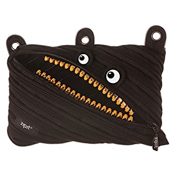 ZIPIT Grillz 3-Ring Binder Pencil Pouch Large Capacity Pen Case for Kids and Teens Made of One Long Zipper!  Black
