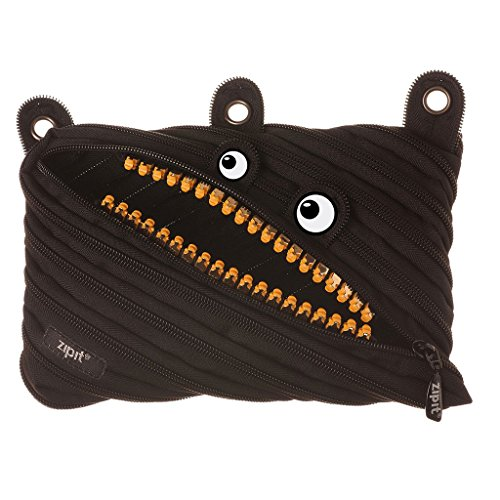 ZIPIT Grillz 3-Ring Binder Pencil Pouch, Large Capacity Pen Case for Kids and Teens, Made of One Long Zipper! (Black)