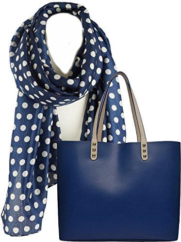 Portogarda Shopper Tasche City Damen- hand- tasche absolut im Trend als Geschenk- Set mit elegantem Schal großes Tuch für Frauen in blau mit weißen Punkten ca. 70 x 180cm