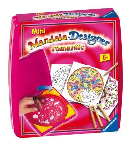 Ravensburger Mandala Designer Mini romantic 29947, Zeichnen lernen für Kinder ab 6 Jahren, Kreatives Zeichen-Set mit Mandala-Schablone für farbenfrohe Mandalas