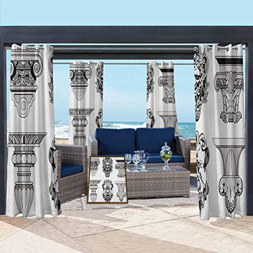 ParadiseDecor Toga Party Fashion Curtains for Patio,Porch,Backyard Roman Architecture Theme with Sphinx Lion and Column Antique Design Pale Grey and Black 104W x 63L Inch