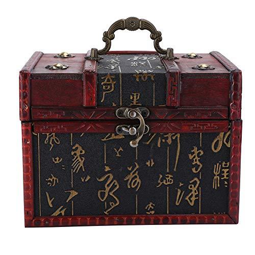 Da Dini Cofres portátiles de joyería para soporte de collar y almacenamiento, caja de almacenamiento de madera de PU para Jewelry6262B‑01‑6262‑Chinese Style‑L
