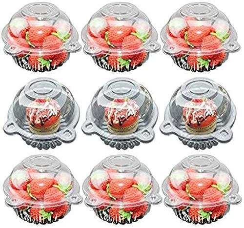 Juego de 100 cajas para magdalenas de plástico transparente con domo individual para magdalenas y mini soportes para tartas para frutas, queso, postre, exhibición de alimentos