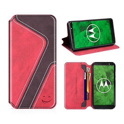 MOBESV Smiley Moto G6 Plus Hülle Leder, Moto G6 Plus Tasche Lederhülle/Wallet Hülle/Ledertasche Handyhülle/Schutzhülle mit Kartenfach für Motorola Moto G6 Plus, Rot/Dunkel Violett
