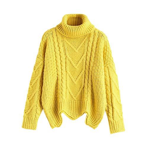 ZAFUL Damen Rollkragen Lässige Einfarbig und Farbe Sweatshirt Langarm Stricken Warmer Pullover Gelb