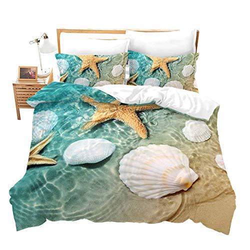 Erosebridal Beach Starfish Bedding Twin Blue Cute Ocean Creatures Duvet Cover Set Sea Shells Starfish Print Comforter Cover Tropical Beach Theme Bedroom Decorative Bedding Sets with Zipper