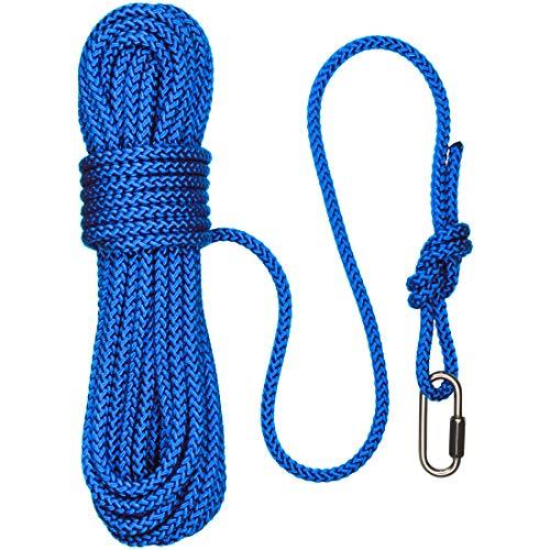 Cuerda Paragon 15m con Enlace. Color Azul. 8 mm de Diámetro, max 850 kg, Cuerda de Grado Marino y 1000 kg Enlace de Acero Inoxidable. Resistente a los Rayos UV. Pesca Magnética, Vela, Al Aire Libre
