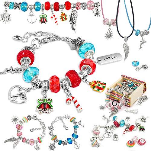 Fengzio Regalos para niñas de 5 – 13 años – Pulseras para niños, regalos para Navidad, cumpleaños, día de la madre, calendario de Adviento, joyas para niñas, juego de manualidades contiene 62 unidades