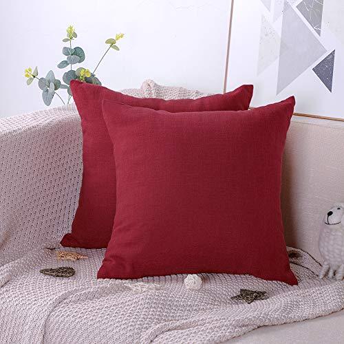 Artscope Set de 2,Funda de Cojín de Algodón Lino Suave de Color Sólido,Funda de Almohada Cuadrado para Sofá Cama Coche Decoración para Hogar 45x45cm (Rojo)