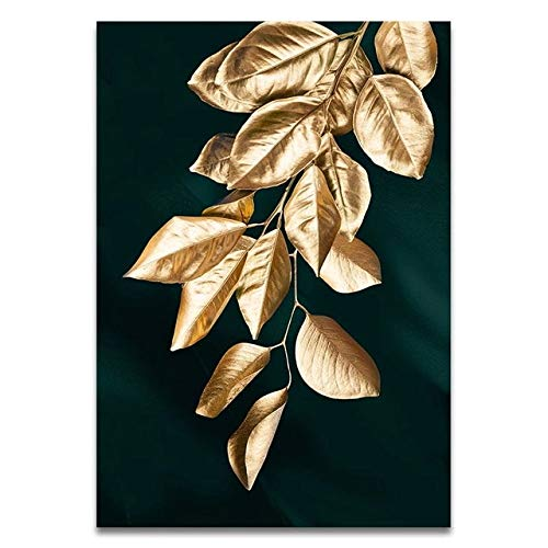 BGFDV Abstract golden plant leaf picture wall poster modern style canvas print painting art aisle living room cardros home decoration