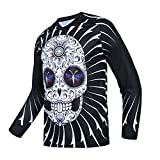 Cycling Jersey Men's Mountain Bike Motocross Jersey Long Sleeve MTB T-Shirt Downhill Tops Sports Racing Blouse Skull L