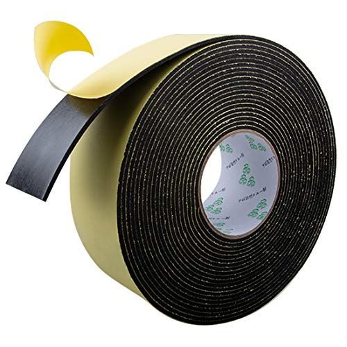 High Density Foam Insulation Tape Adhesive Rubber Strip, Seal, Door Insulation Foam Tape Weatherstrip, Waterproof, HVAC, Pipes, Foam Strips Air Conditioning, Weather Stripping Foam(33Ft x 1/8'' x 2'')