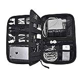Organizzatore per cavi da viaggio di Nomalite | Custodia nera per cavi, caricabatteria e accessori elettronici con 5 tasche, 20 elastici & 3 aperture per SIM card/USB. Ideale per escursioni/lavoro.