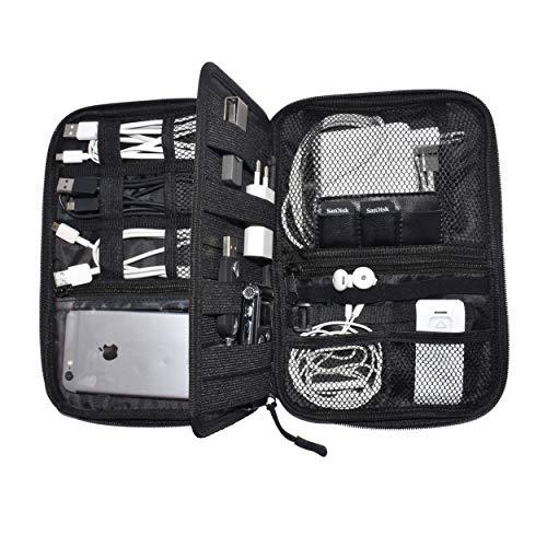 Organizador de electrónica Nomalite | Funda Negra/Bolso portátil Viaje para Almacenamiento de Cables y Accesorios con 5 Bolsillos, 20 Bandas elásticas, 1 Panel Central y 3 Ranuras para SIM/USB