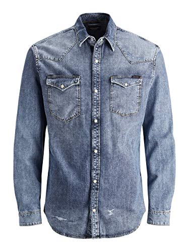 JACK & JONES Herren Overshirt Rustikales Denim LBlue Denim