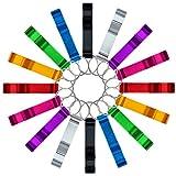 cnomg 16 pcs 8 Colored Metal Bottle Opener, Split Key Ring Chain Keychain Bulk Aluminum Po...